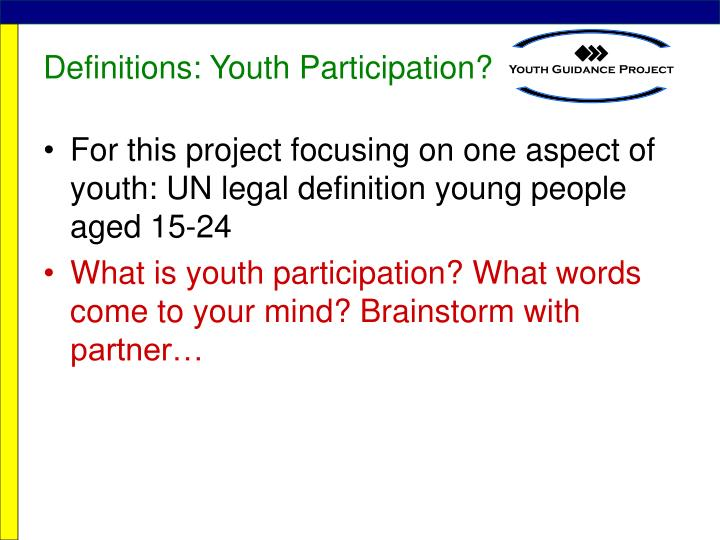Definitions youth participation