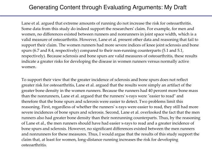 Generating Content through Evaluating Arguments: My Draft