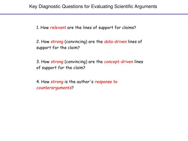 Key Diagnostic Questions for Evaluating Scientific Arguments