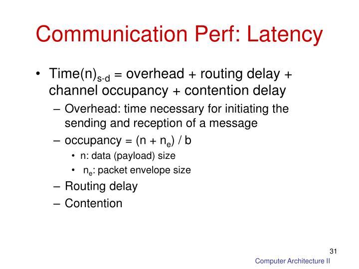 Communication Perf: Latency