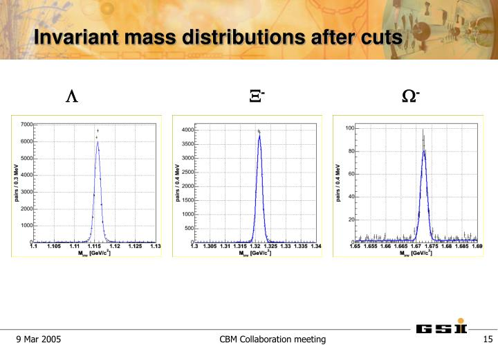 Invariant mass distributions after cuts
