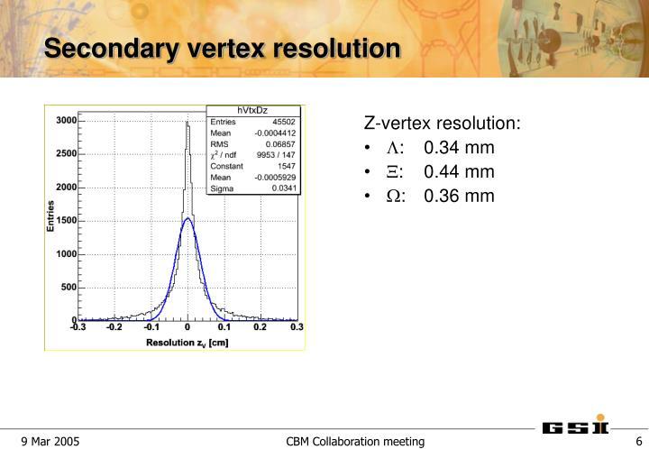 Secondary vertex resolution