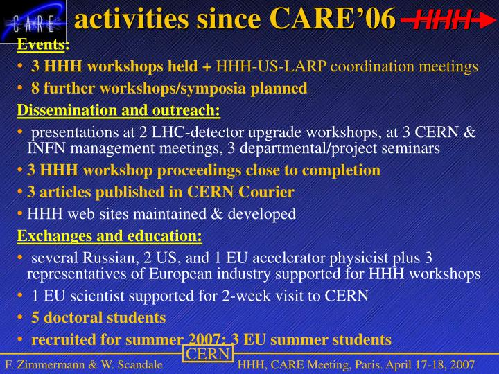 activities since CARE'06