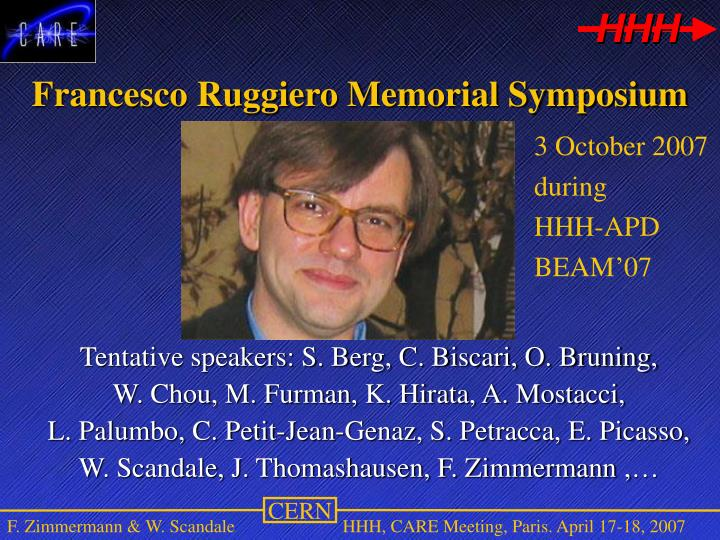 Francesco Ruggiero Memorial Symposium