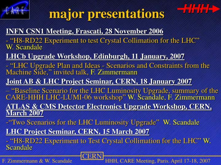 major presentations