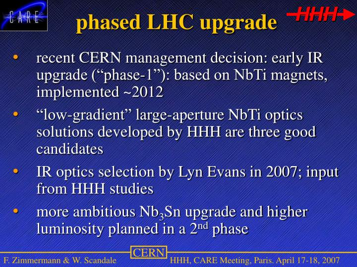 phased LHC upgrade
