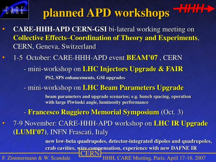 planned APD workshops