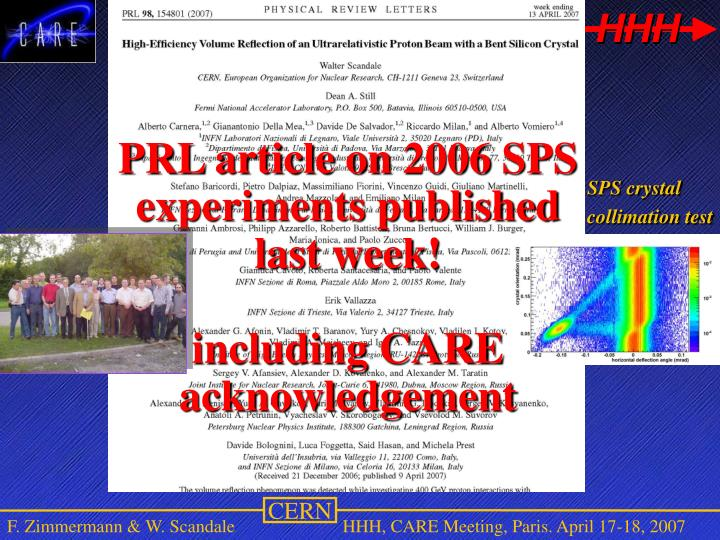 PRL article on 2006 SPS experiments published