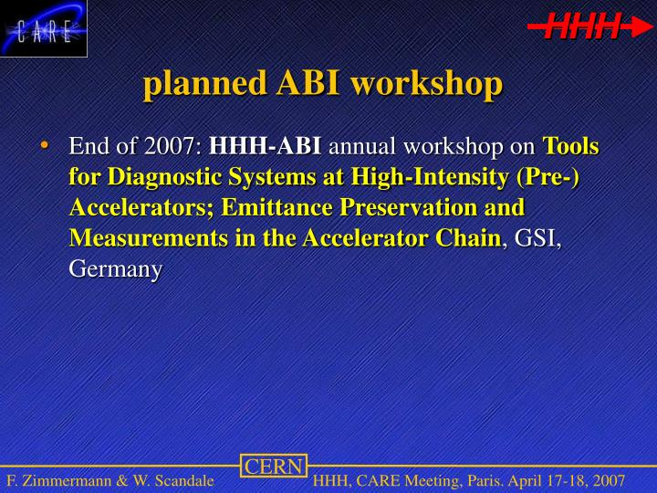 planned ABI workshop