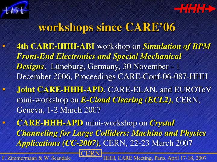 workshops since CARE'06