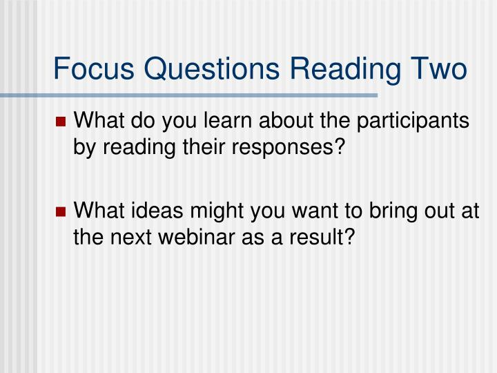 Focus Questions Reading Two