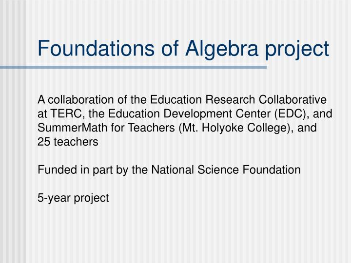 Foundations of algebra project