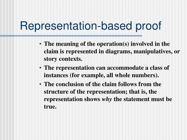 Representation-based proof