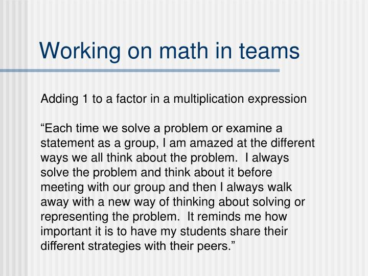 Working on math in teams