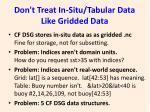 don t treat in situ tabular data like gridded data