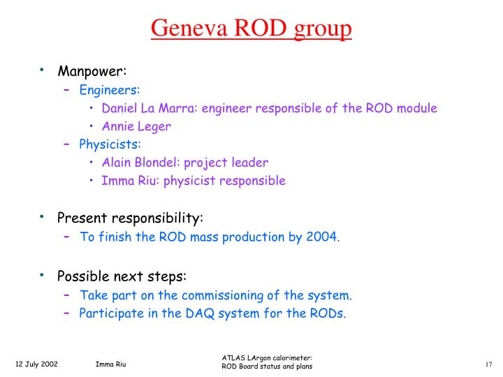 Geneva ROD group