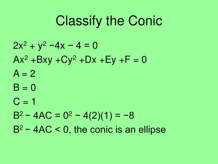 Classify the Conic