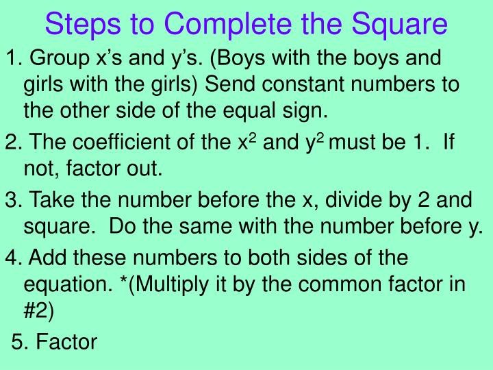 Steps to Complete the Square