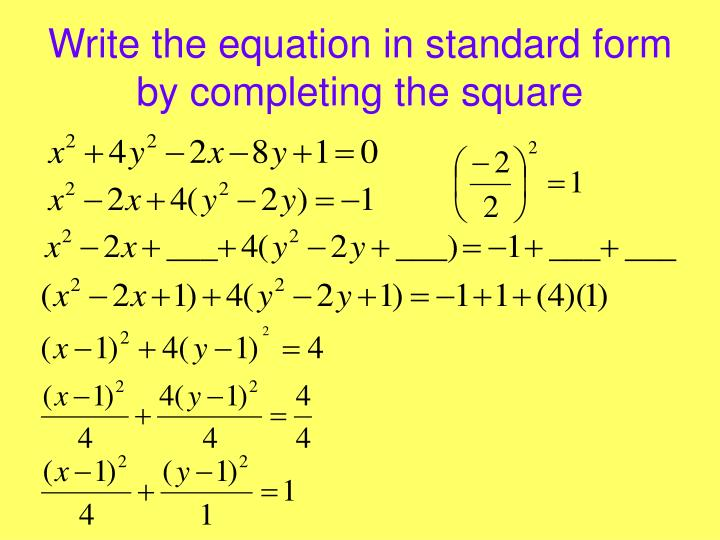 Write the equation in standard form by completing the square