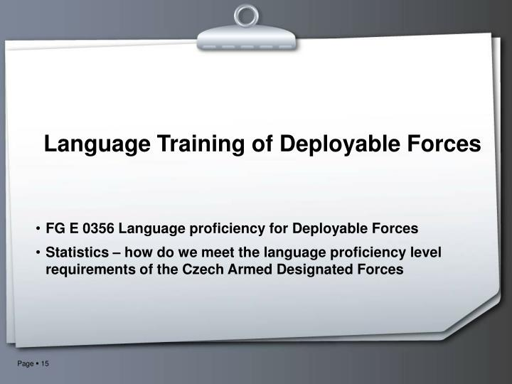 Language Training of Deployable Forces