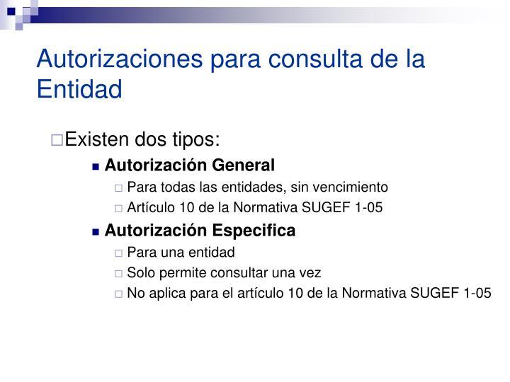 Autorizaciones para consulta de la Entidad