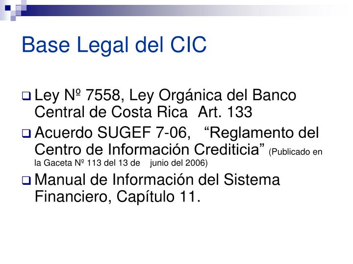 Base legal del cic