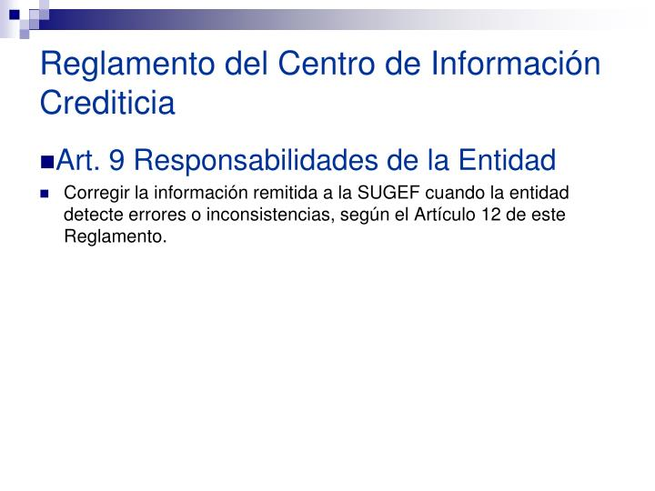 Reglamento del Centro de Información Crediticia