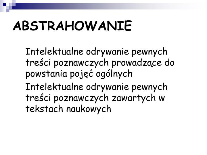 ABSTRAHOWANIE