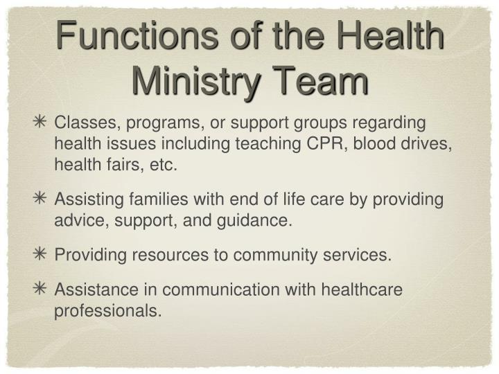 Functions of the Health Ministry Team