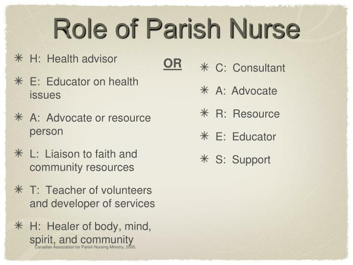 Role of Parish Nurse