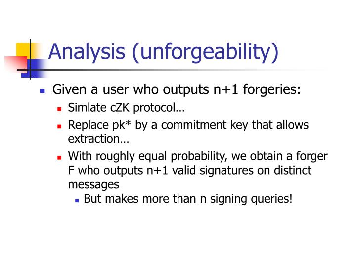 Analysis (unforgeability)