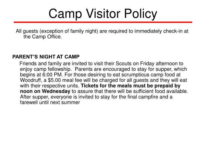 Camp Visitor Policy