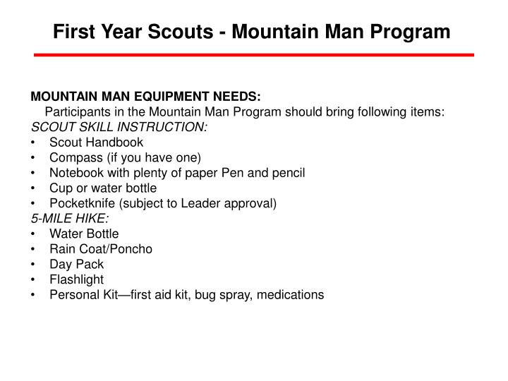 First Year Scouts - Mountain Man Program