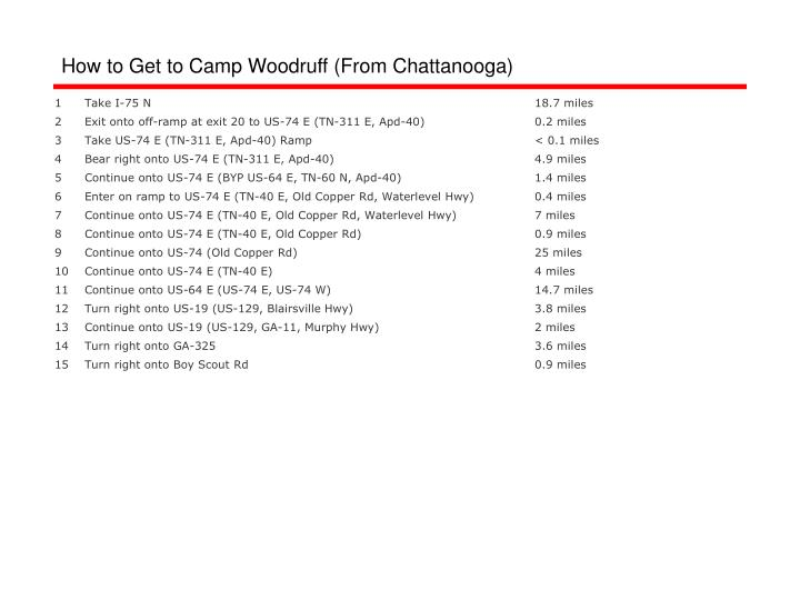 How to Get to Camp Woodruff (From Chattanooga)