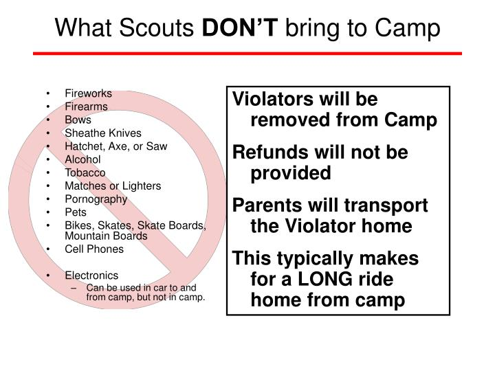 What scouts don t bring to camp