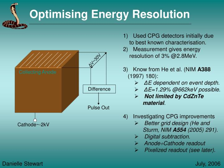 Optimising Energy Resolution