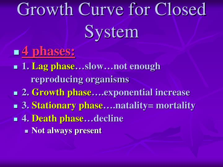 Growth Curve for Closed System