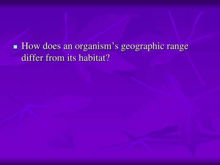 How does an organism's geographic range differ from its habitat?