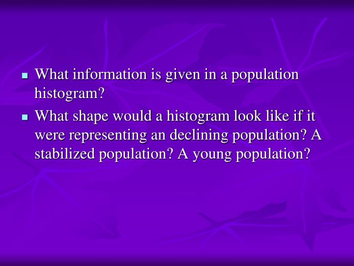 What information is given in a population histogram?