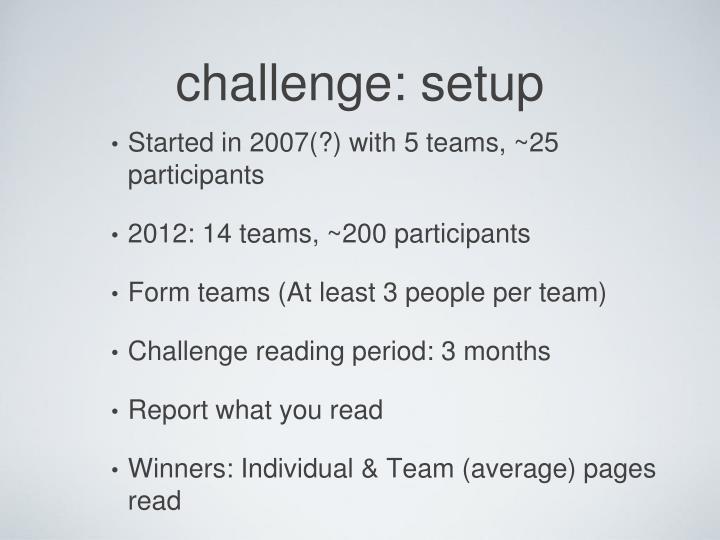 challenge: setup