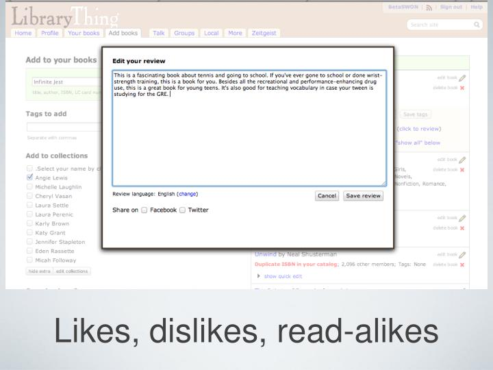 Likes, dislikes, read-