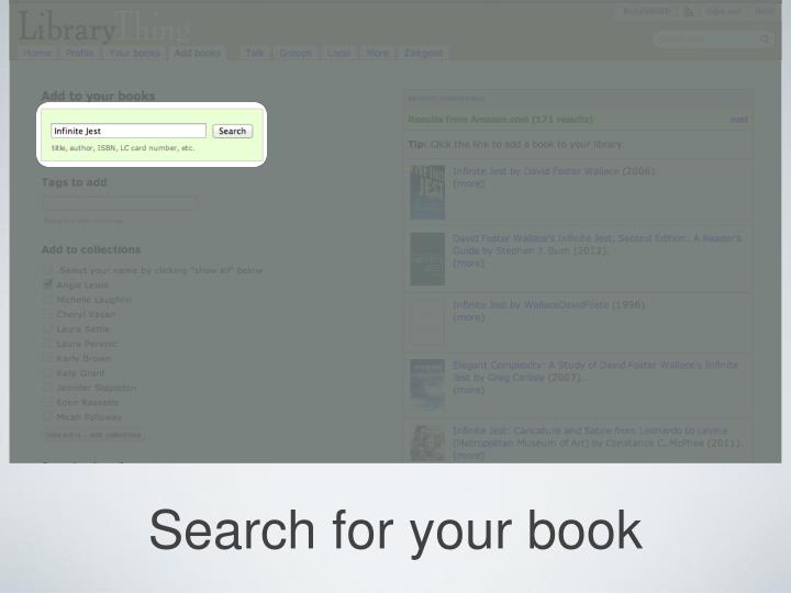 Search for your book