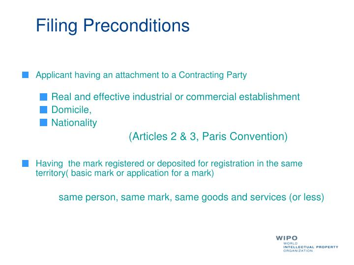 Filing Preconditions