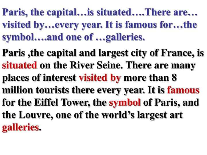 Paris, the capital…is situated….There are… visited by…every year. It is famous for…the sym...