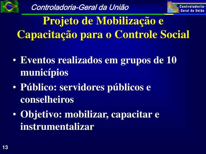 Eventos realizados em grupos de 10 municípios