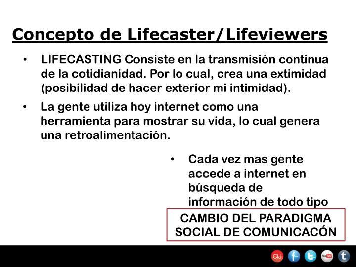 Concepto de Lifecaster/Lifeviewers