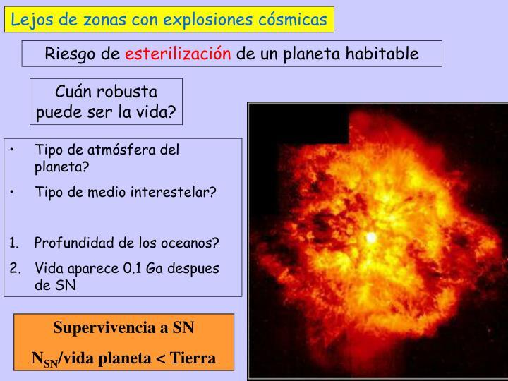 Lejos de zonas con explosiones cósmicas