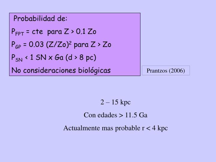 Probabilidad de: