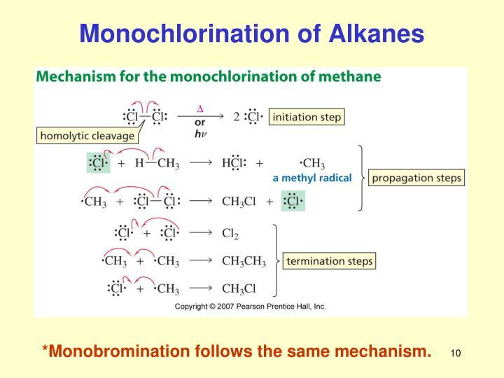 Monochlorination of Alkanes