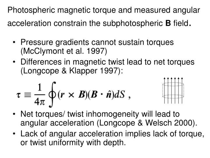 Photospheric magnetic torque and measured angular acceleration constrain the subphotospheric